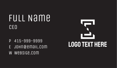 White Slice Letter S Business Card