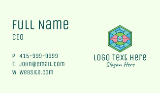 Hexagonal Rose Stained Glass Business Card