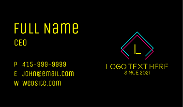 Neon Sign Letter Business Card