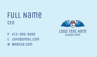 Winged Crowned Shield Lettermark Business Card