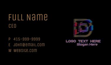 Gradient Glitch Letter D Business Card