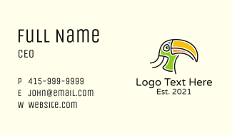 Toucan Head Character Business Card