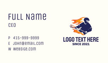 Flaming Lacrosse Player Business Card