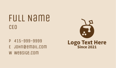 Coconut Bowling Ball  Business Card