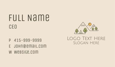 Monoline Mountain Camping Scene Business Card
