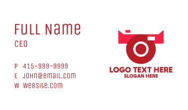 Red Abstract Bull Camera Business Card