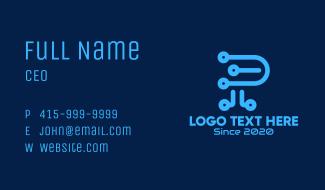Digital Letter P Business Card