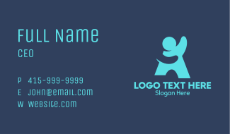 Generic Blue Person Business Card