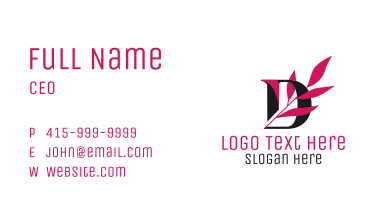 Leafy Letter D Business Card
