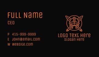Orange Viking Weapon Armor Business Card