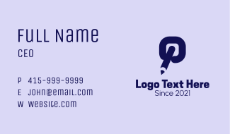Pencil Letter Q Business Card