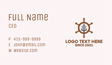 Trident Ship Wheel  Business Card