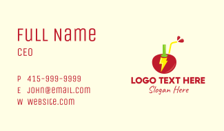 Red Cherry Energy Drink Business Card