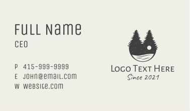 Evening Pine Trees Lake Business Card