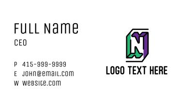 Outline Letter N Business Card