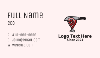 Meat Shop Location Pin Business Card