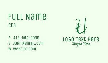 Natural Elegant Letter U Business Card