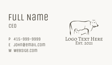 Mother Cow Line Art  Business Card